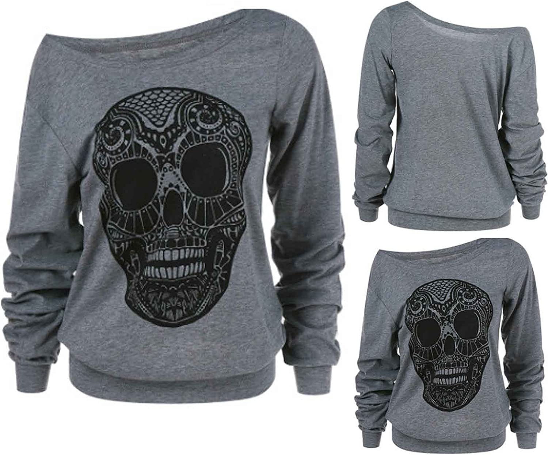 Off The Shoulder Tops Skull Printed Pullover One Shoulder Long Sleeve Loose Top Fashion Irregular Sweatshirt
