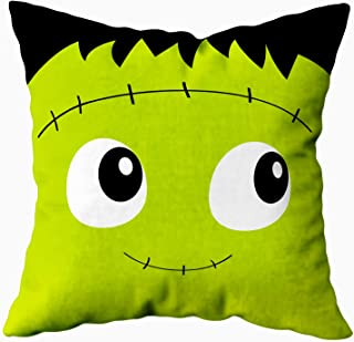 ROOLAYS Bed Pillow Covers, Throw Pillow Cases 18X18Inch Frankenstein Zombie Monster Square Face Icon Cute Cartoon Funny Spooky Baby Soft Pillow Case,Christmas Pillow Covers,Gold Green