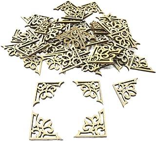 FENICAL 50 piezas de madera tallada calcomanía esquina Onlay apliques marco para el hogar pared del gabinete puerta decoración Diy Craft
