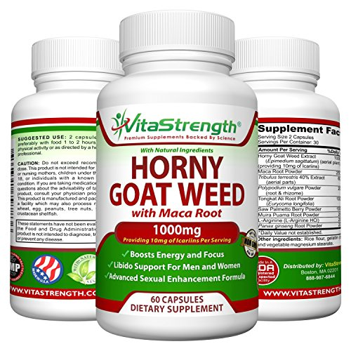 Horny Goat Weed with Female and Male Enhancement Herbs - Complete Formula of Horny Goat Weed Extract, Maca Root, Ginseng, Saw Palmetto & Tongkat Ali - Horney Goat Weed for Libido Support