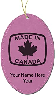 LaserGram Faux Leather Christmas Ornament, Made in Canada, Personalized Engraving Included (Pink Oval)