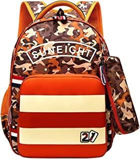 Waterproof Camouflage Students Backpack, School Bags for Kids, Students Bags with A Detachable Crossbody Bag, Protect The Spine, Suit for Students Aged 8-12