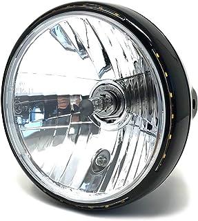 Retro Motorrad Scheinwerfer 7.5' 55W mit Slim LED Halo   Schwarz   Homologated