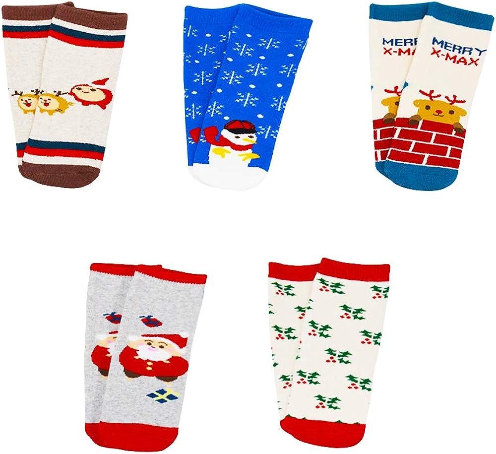 Christmas Socks 5 Pairs Santa Claus Cotton Autumn Winter Socks for Kids Unisex Reindeer Snowman Pattern Socks