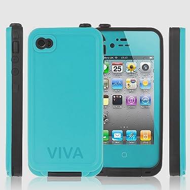 Viva OceanProof Waterproof Dustproof Snowproof Protection Case Cover For Apple iPhone 4 4S (Teal)