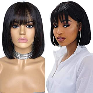 Short Straight Bob Wigs with Bangs Human Hair Wigs for Black Women Jaja Hair Virgin Glueless Machine Made Wigs 130% Density None Lace Front Wigs Natural Black Color 14 Inch