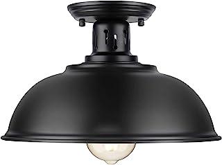 Farmhouse Semi Flush Mount Ceiling Light Fixture, E26 Medium Base, Industrial Black Pendant Lamp Shade, Great Close to Ceiling Lighting for Kitchen Island Corridor Porch Bedroom Foyer Hallway Entryway