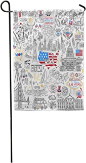 Semtomn Garden Flag USA Outline United States of America Popular Symbols and Landmarks Home Yard House Decor Barnner Outdoor Stand 28x40 Inches Flag