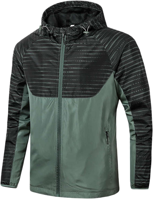 FORUU Men's Waterproof Jacket 2021,Fall Mens Lightweight Jacket Fashion Windbreaker Mens Winter Coats Oversized Outwear