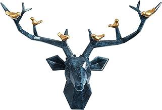 Deer Antler Deer Head Wall Decoration Artificial Animal Head Wall Decor,Sculpture Pendant Wall Mount Country Style Decorat...