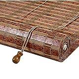 VBARV Persianas enrollables de bambú, persianas enrollables Opacas con Ganchos, tamaño Personalizado (tamaño: 60 x 120 cm), para Ventanas, Puertas, Porche, balcón, terraza, pérgola