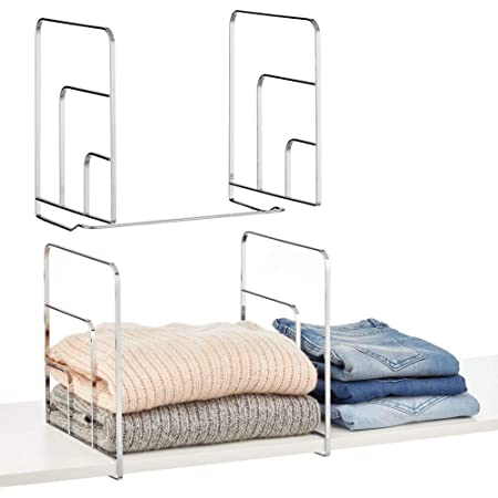 mDesign système de Rangement pour Armoire à vêtements (Lot de 2) – Rangement Dressing Pratique en métal – séparateur étagère sans perçage pour Placard, Dressing, etc. – argenté