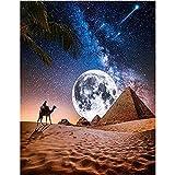 DIY 5D Diamond Painting por número Kits Full Drill Pirámide egipcia luz luna,Pintura de diamantes de Crystal Dot Grande Punto de cruz Art Craft for Home Wall Decor Gift Square Drill,25X35cm(10x14in)