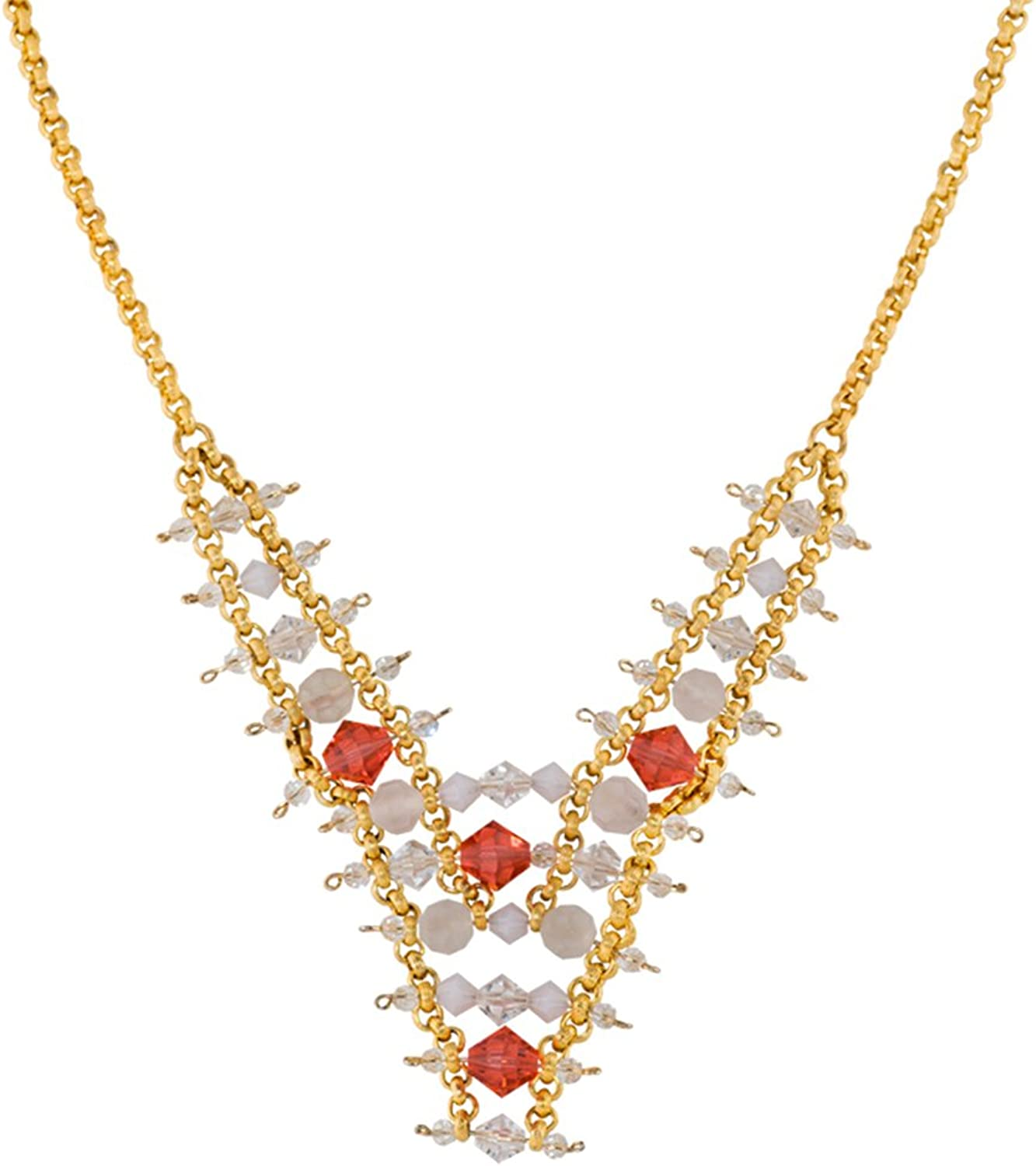 Alzerina Handmade Cluster Necklace with Swarovski Crystals and 24K gold Plated Chains