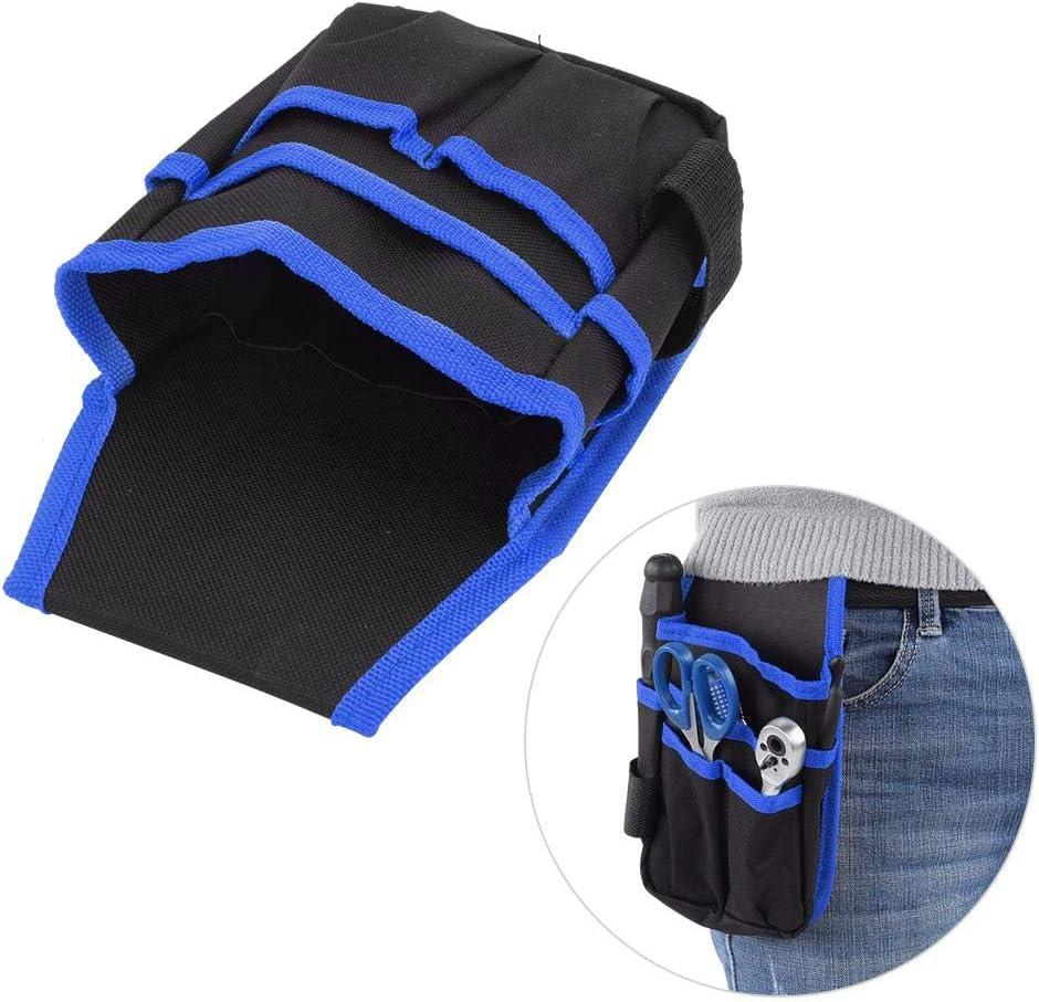 Borde azul con cintur/ón Bolsa de herramientas multifunci/ón port/átil de tela Oxford Bolsa de cintura para acampar al aire libre con cintur/ón Bolsa de herramientas