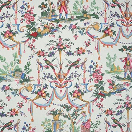 Double Width Luxury Toile de Jouy Fabric (La vie à la campagne) - rich and colorific statement print on a lightly-glazed, lightweight cloth | 100% Cotton Designer Print | 110 inches wide | Per yard