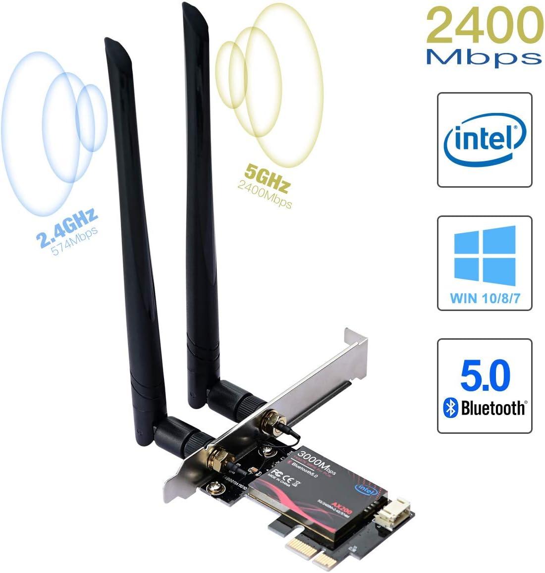 Ultra Low Latency PCI-E Karte Bluetooth 5.0 WiFi 6 AX200 PCIE WLAN-Karte MU-MIMO Dual Band 5 GHz//2,4 GHz Wireless WiFi Netzwerkadapter f/ür PC unterst/ützt Win 10 64-Bit nur schwarz