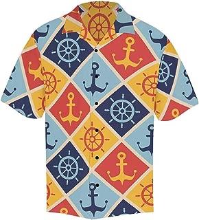 INTERESTPRINT Casual Button Up Vintage Decorative Short Sleeve Summer T Shirt