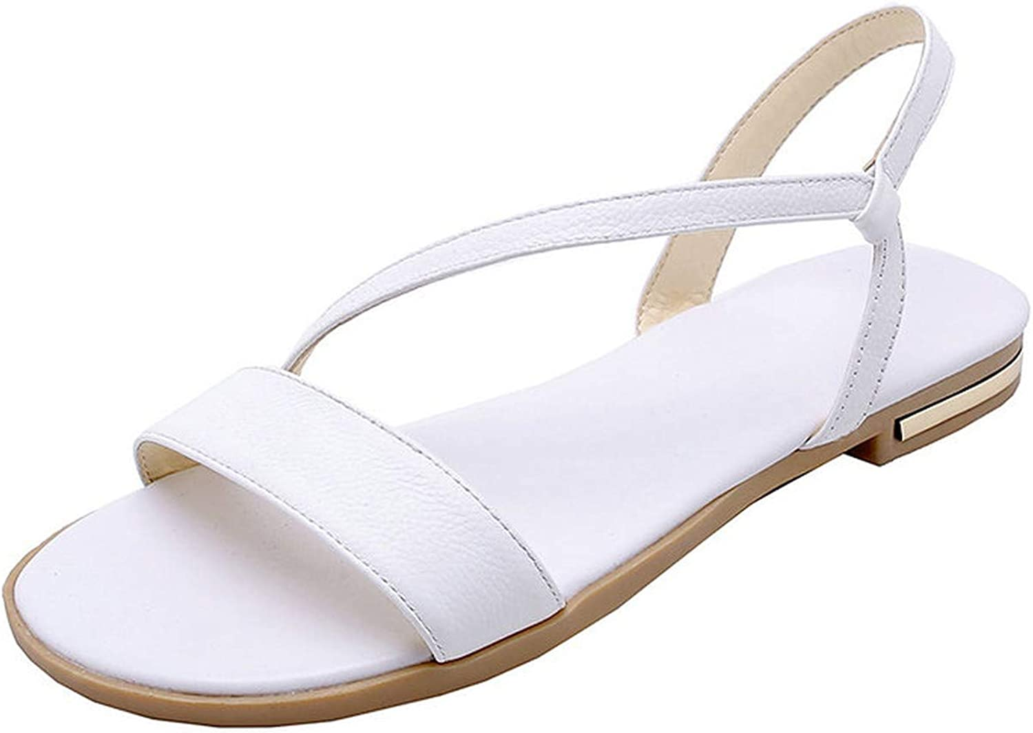 Women Sandals Flat Heel Champagne Cow Round Open-Toed Soft-Soled Anti-Skid shoes