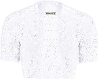 Janisramone Girls Kids Short Sleeve Crochet Knitted Bolero Shrug Open Cardigan Crop Top