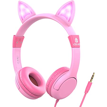 iClever Kids Headphones with Led Backlight, Safe Wired Kids Headsets 85dB Volume Limited, Food Grade Silicone, Cat-Inspired Headphones for Kids Edition Tablet/Travel, Pink
