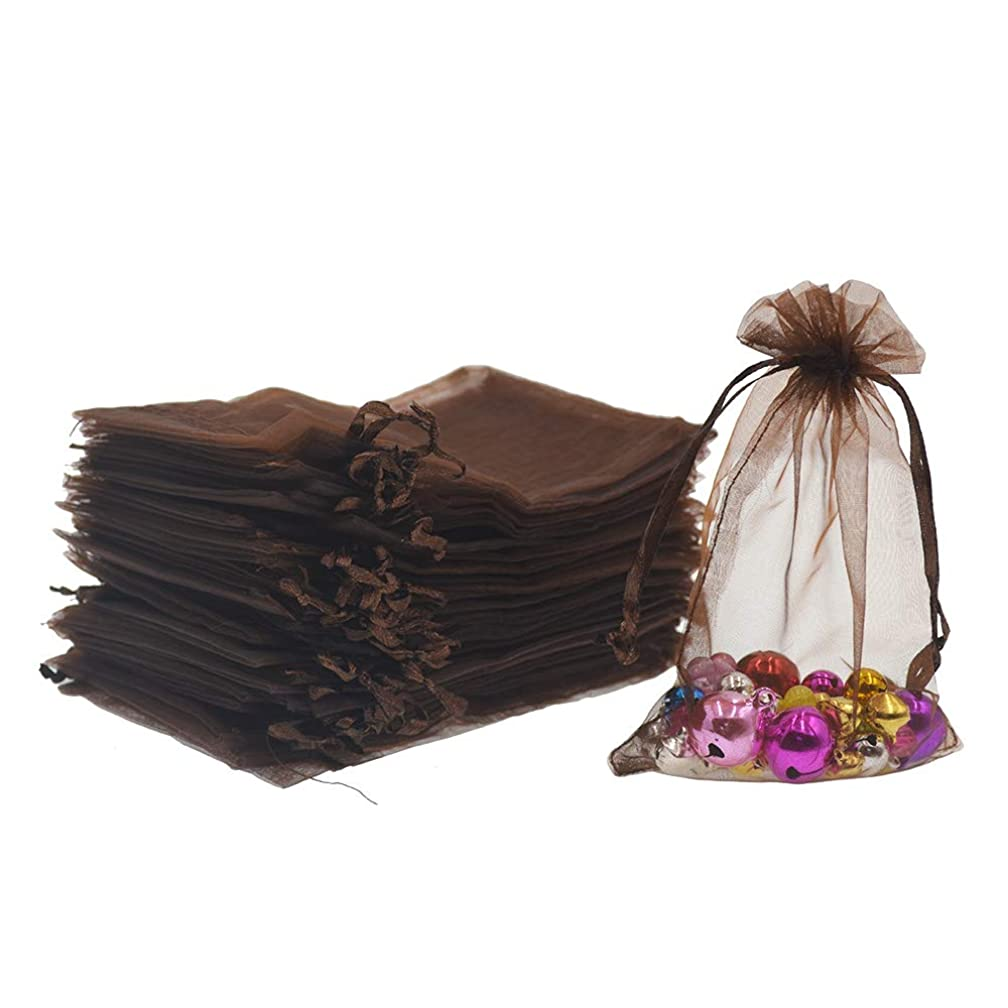 Lautechco 100Pcs Organza Bags 5x7 inches Brown Organza Gift Bags Small Mesh Bags Drawstring Gift Bags Christmas Drawstring Organza Gift Bags (5x7 inches Brown)