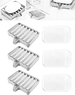Soap Dish Bar Soap Holder Pack of 3 + 3 Gray EUICAE Soap Dishes Tray Saver Case Slip Resistant Anti-Slip Pads Box for Shower Bathroom Kitchen Dish Drainer Drying Rack