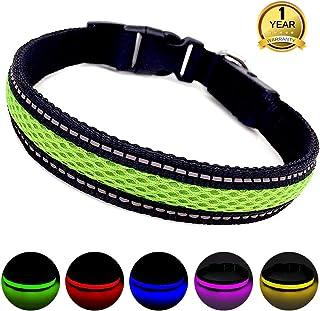 MASBRILL Collar Luminoso Perro de Mascota, 3 Modos Collar Perro Luz con Recargable y Impermeable, Ajustable Collares Destello LED para Perros Pequeños/Medianos/Grandes(Verde L)