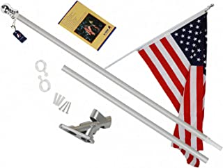 A-ONE Tangle Free Spinning Flag Pole, Deluxe Aluminum American US FlagPole with Stainless Steel Rust Prevention Clip and Free Bracket for Outdoor Residential or Commercial Wall Mount, Silver,6Ft