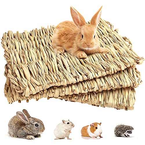 3 Pack Grass Mat for Rabbits Bunny, Woven Hay Mat for Small Animals, Natural Straw Bedding Resting...