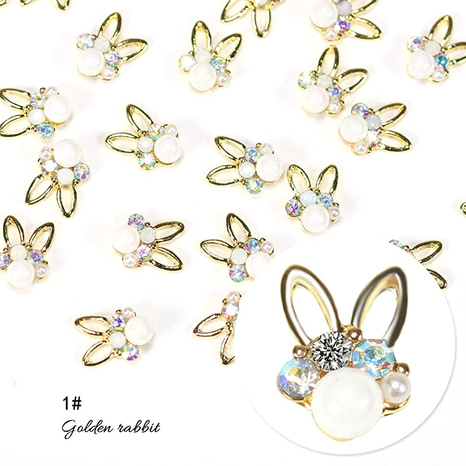 BlueZOO 10pcs Glitter Gold Rabbit 3d Nail Art Decorations with Rhinestones, Alloy Nail Charms Jewelry for Nail Gel/Polish Tools
