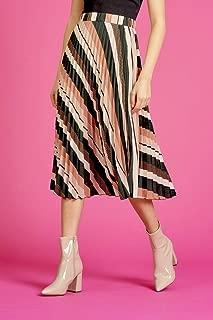 Valleygirl Stripe Pleats MIDI Skirt (325908)