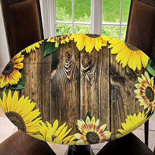 scocc Elastic Edged Table Cover, Round Tables Tablecloth Table Cloth, Sunflowers On Rustic Wood Background Waterproof Table Pads Tablecloth Size 48'(Fit for 36.2'-40.1' Table)