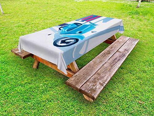 ABAKUHAUS Pays Nappe Extérieure, Old Town Country Life, Nappe de Table de Pique-Nique Lavable et Décorative, 145 cm x 210 cm, Bleu Gris