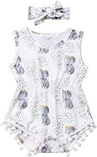 LIFLWO Toddler Girl Summer Outfits Baby Ruffles Bow Romper Infant Floral Jumpsuit