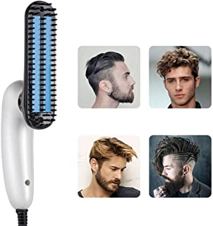 ADTALA New Launch Folding Design 360 Degree Round 2 IN 1 Electric Beard Straightener Brush and Hair Straightening Beard Styling Comb, Detangling & Volumizing Beard Straightener Brush for Men, Portable Heating Beard Straightener with Anti-Scald Feature (360 Degree Folding Design Beard Straightener)