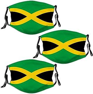 Flag Jamaica 3 Pcs Unisex Fashion Dust Face Bandana Mask with Nose Bridge Reusable Face Scraf