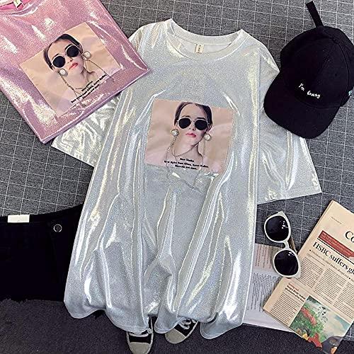 KAL'ANWEI Ladies De Verano Brillante Camiseta Retro Calle Desgaste Suelto Manga Corta De Gran Tamaño para Mujer Sexy Club De Mujer Hip Hop Tshirts Brillantes Elegantes-Plata_L