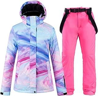 Ski Suit, Snow Suit Wear Women's Snowboard Clothing Winter Waterproof Thicken Costumes Outdoor Ski Jacket Snow Bibs Pants,Picture Jacket Pant,XXL