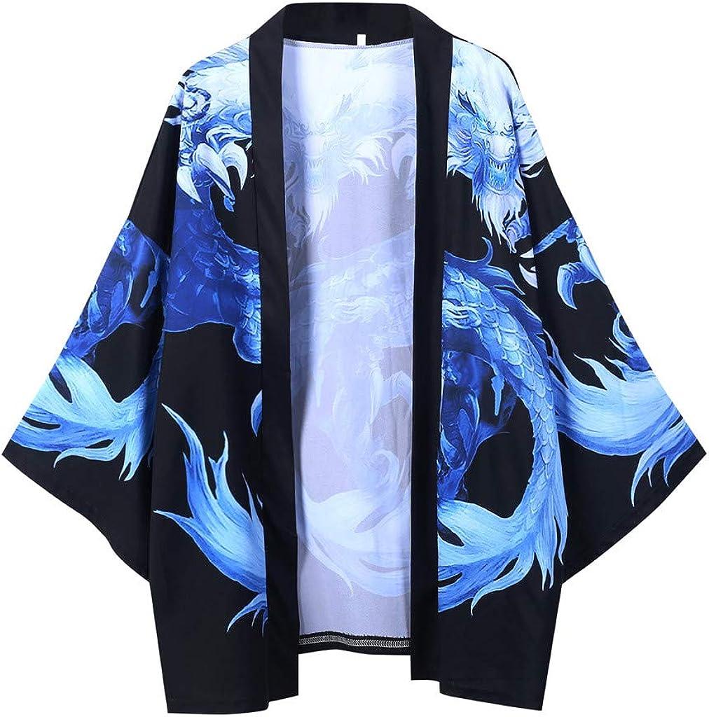 Mens Kimono Cardigan, F_Gotal Mens Japanese Kimono Cardigan Casual Dragon Pattern Yukata Open Front Coat Drape Cape Coat