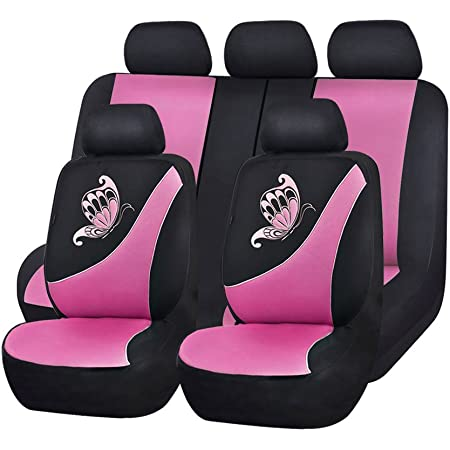 Flying Banner Mesh Full Set Universal Fit Butterfly Embroidery Car Seat Covers with 5mm Composit Sponge,Airbag Compatiable (Pink, Full set(11pcs))