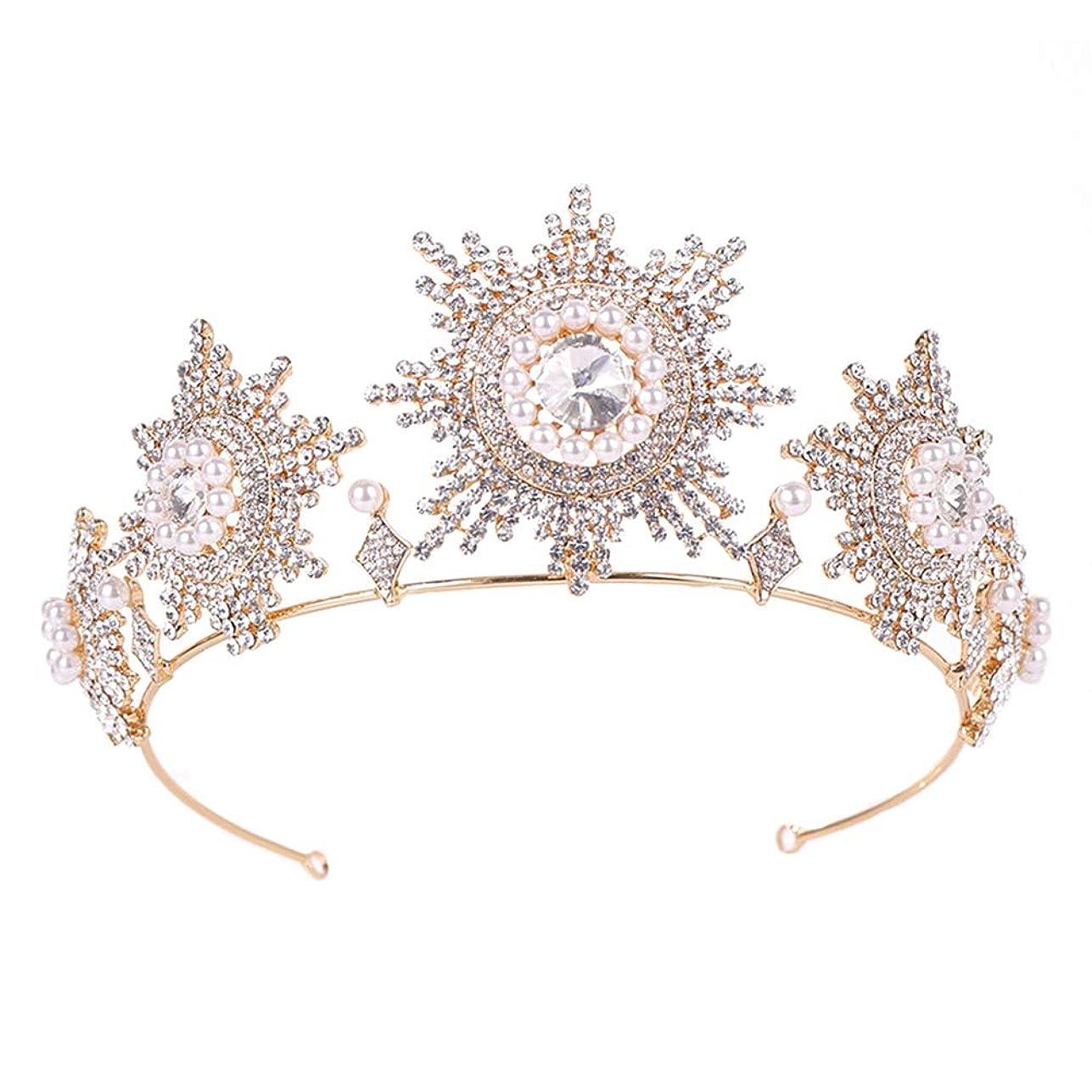 LURROSE ティアラ 王冠 クラウン クラシックブライダルティアラ プリンセスクラウン ヘアアクセサリー ウェディング 花嫁 結婚式 披露宴 パーティー 髪飾り(ゴールデン)