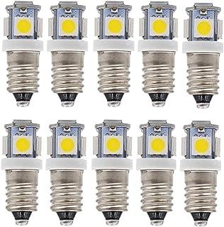 MeetUs 10 bombillas LED E10 de, de casquillo giratorio, blancas, con casquillo E10, 5 SMD, 0,5 W, 50 lm(Blanco cálido,12v)
