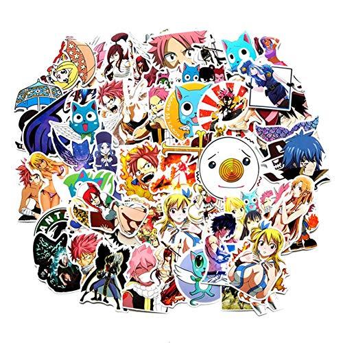 SGOT Anime Aufkleber, One Piece Stickers, Wasserdicht Vinyl Sailor Moon Stickers, Anime Decals für Auto Motorräder Gepäck Skateboard Laptop Aufkleber(60 Stück Fairy Tail)
