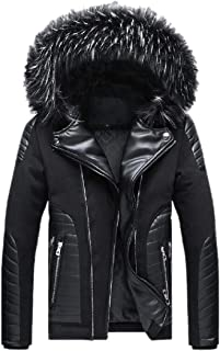 Men Cotton Padded Faux Fur Hooded Parka Outerwear and Coats Outwear