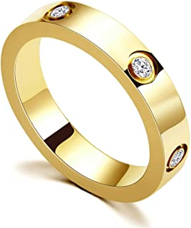 PDWZNBA Love Friendship Ring 18K Gold Silver Rose Plated Cubic Zirconia Stainless Steel Promise Ring Wedding Band Jewelry ...