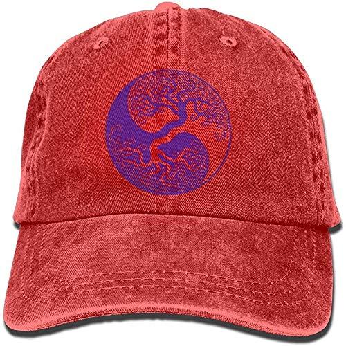 Preisvergleich Produktbild Voxpkrs Denim Baseball Cap Yin Yang Tree of Life Unisex Golf Hats Washed Denim Cap HJASKJDSNAHIWQASD 8604