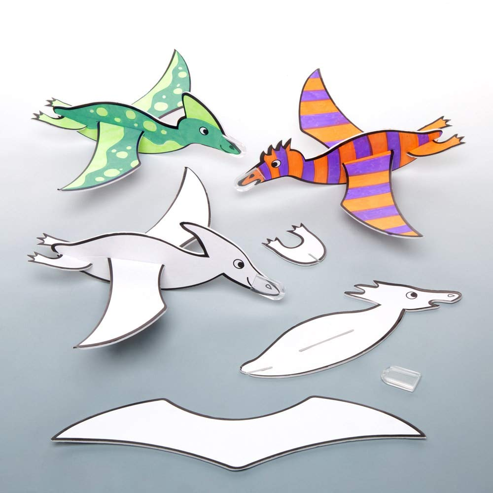 Baker Ross- Dinosaurios planeadores para colorear (Pack de 8) - Planeadores para lanzar infantiles perfectos para bolsas sorpresa o como regalo: Amazon.es: Juguetes y juegos