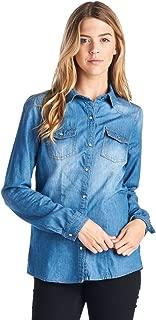 Ci Sono Women's Vintage Washed Denim Chambray Long Sleeve Button Down Shirt
