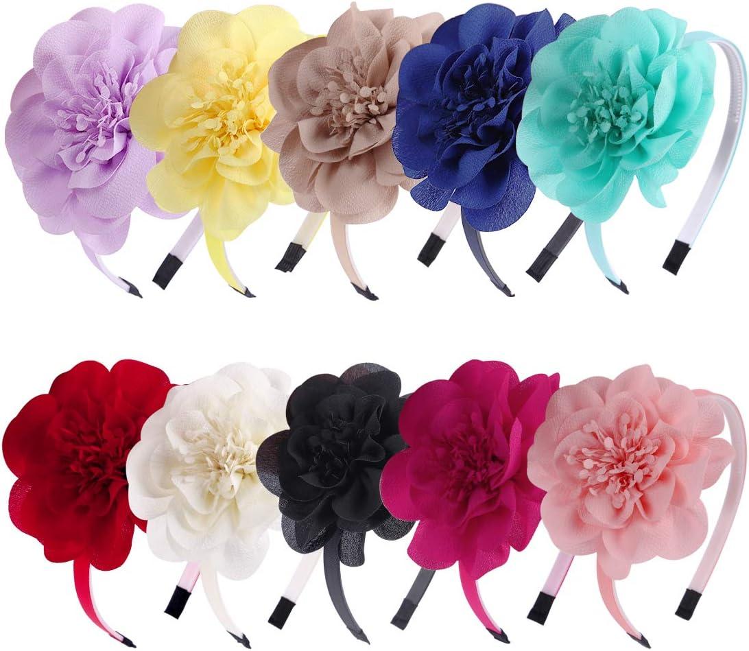 XIMA 10 diademas de gasa con flores para niñas, para niños, adolescentes y niños pequeños, accesorios para el pelo